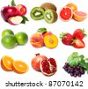collection of fruits on white background - stock photo