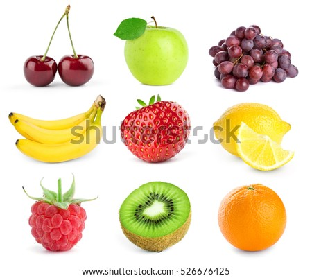 Collection of fruits on white background. Fresh food