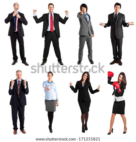 Collection of full length portrait of expressive business people - stock photo