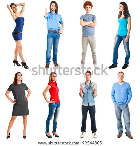 Collection of full length portrait of people in - stock photo