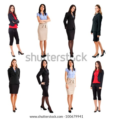 Collection of full length portraits of beautiful businesswomen