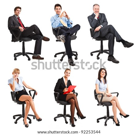 Collection of full length portraits of business people sitting on a chair - stock photo