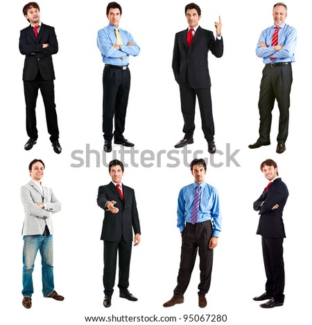 Collection of full length portraits of businessmen