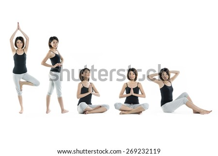 Collection of 5 full length portraits of the same Asian woman doing yoga exercise. Isolated on white background - stock photo