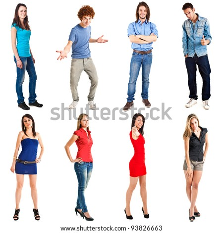Collection of full length portraits of young happy people