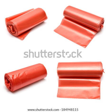 Collection of garbage bags isolated on white background - stock photo