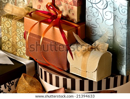 Collection of gifts isolated on orange background