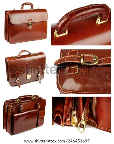 Collection of Ginger Shiny Leather Briefcases with Pockets, Bronze Details and Fasteners isolated on white background - stock photo