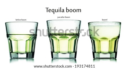 Collection of glasses with tequila boom cocktail. Soda and tequila cocktail. - stock photo