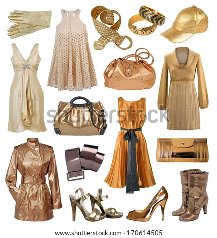 collection of gold female dress - stock photo