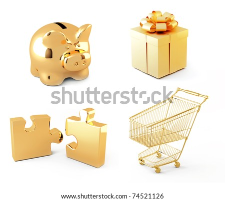 Collection of gold icons. Objects isolated over white - stock photo