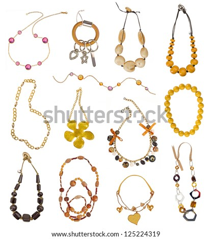 collection of gold necklaces - stock photo