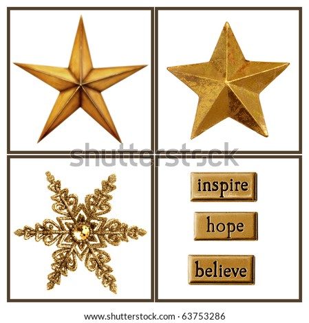 Collection of gold stars and embellishments for your Christmas projects. - stock photo