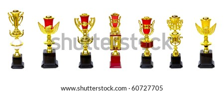 collection of gold trophy isolated on white background - stock photo