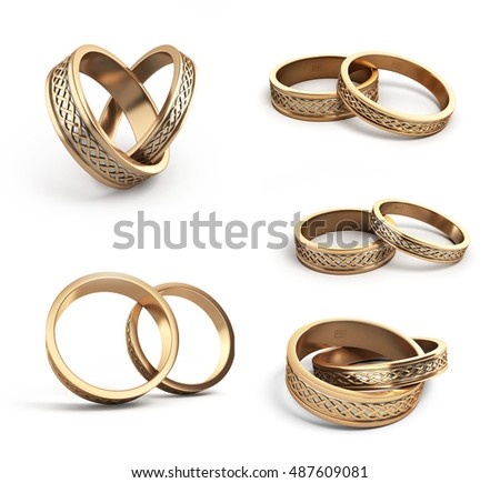 collection of Gold wedding rings engraved 3d render on white