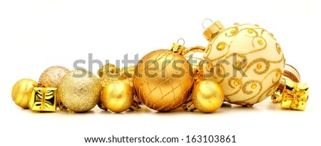 Collection of golden Christmas baubles forming a border - stock photo