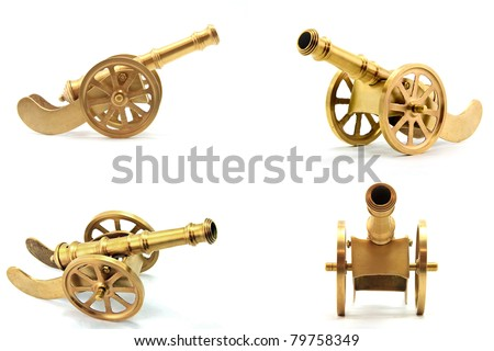 collection of golden metal canon antique isolated on white background - stock photo