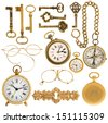 collection of golden vintage accessories. antique keys, clock, compass, glasses isolated on white background - stock