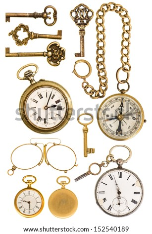 collection of golden vintage accessories. antique keys, clock, compass, glasses isolated on white background - stock photo