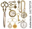 collection of golden vintage accessories. antique keys, clock, scissors, compass, glasses isolated on white background - stock