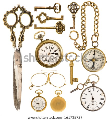 collection of golden vintage accessories. antique keys, clock, scissors, compass, glasses isolated on white background - stock photo