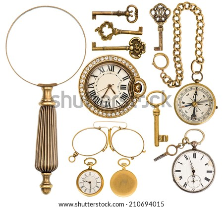 collection of golden vintage accessories, jewelry and objects. antique keys, clock, loupe, compass, glasses isolated on white background - stock photo