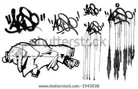 collection of graffiti stuff - stock photo