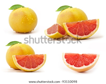 Collection of grapefruit with leaves and drops - stock photo