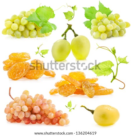 Collection of grapes and raisins isolated on white background - stock photo