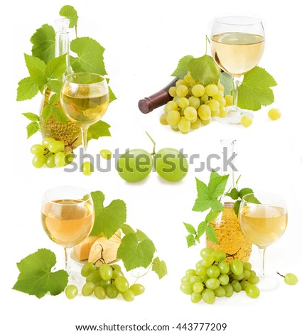 Collection of grapes and wine (glass, bottle)  isolated on white background - stock photo