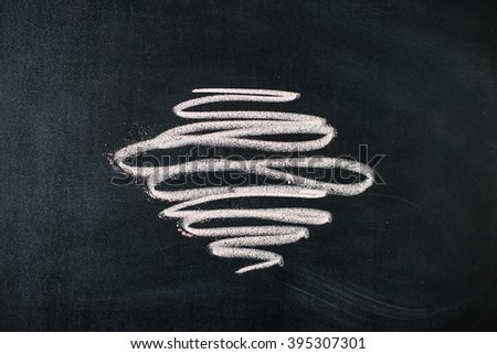 Collection of graphic elements. Handdrawn chalk sketch on a blackboard. - stock photo