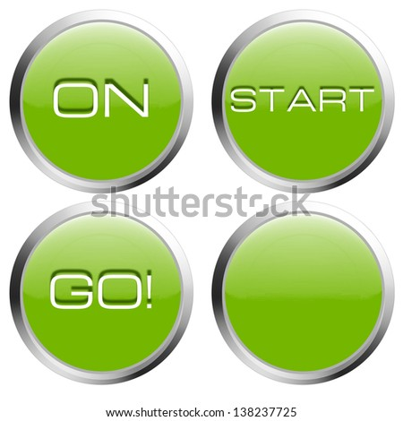 Collection of green buttons with start, on, go text - stock photo