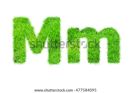 collection of green grass,eco font isolated on white background