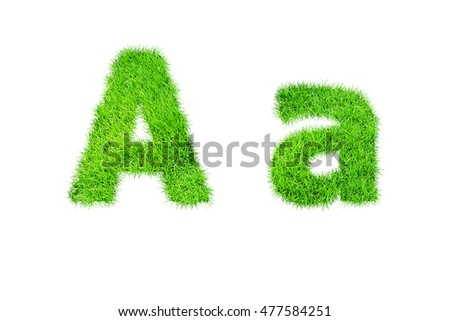 collection of green grass,eco font isolated on white background.a