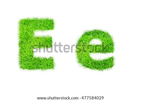 collection of green grass,eco font isolated on white background.e