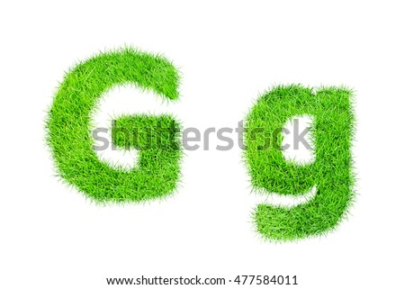 collection of green grass,eco font isolated on white background.g