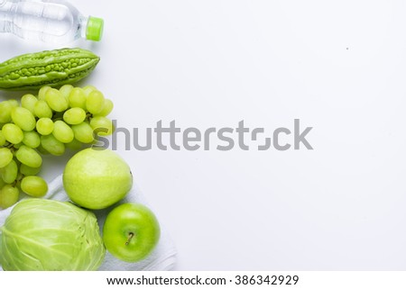 Collection of green items. Fruits. Healthy lifestyle concept, Diet and fitness - stock photo