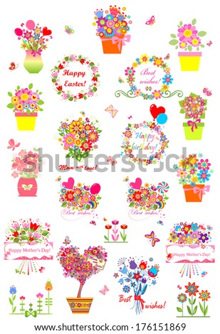 Collection of greetings. Raster copy - stock photo