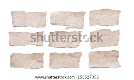 Collection of grey ripped pieces of paper - stock photo