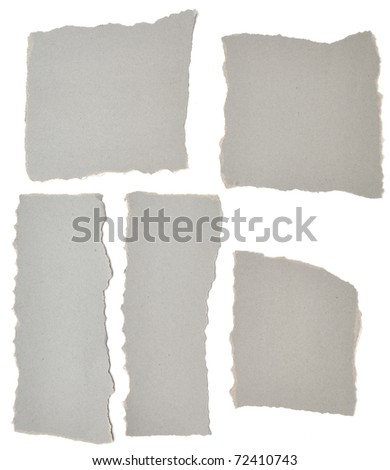 collection of grey ripped pieces of paper on white background - stock photo