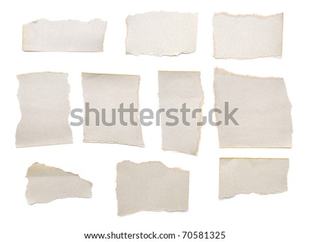 collection of grey ripped pieces of paper on white background. each one is shot separately - stock photo