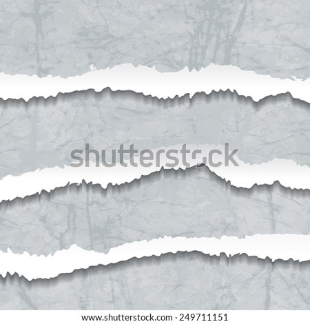 Collection of grey torn Crumbled Textured Paper