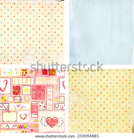 Collection of grunge backgrounds with dots pattern and paper texture - stock photo