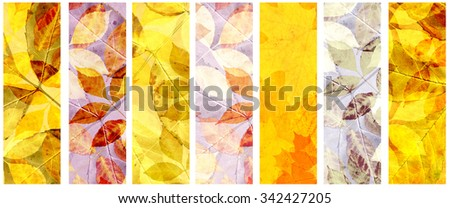 Collection of grunge banners with autumn leaves and paper texture - stock photo