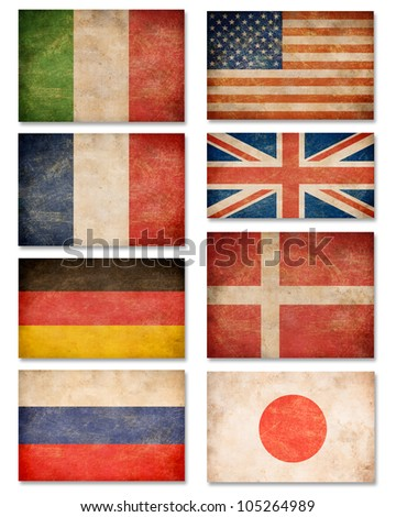 Collection of grunge flags: USA, Great Britain, Italy, France, Denmark, Germany, Russia, Japan - stock photo