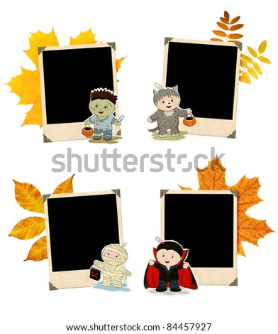 Collection of grunge Halloween banners. Zombie, mummy, werewolf and vampire - stock photo