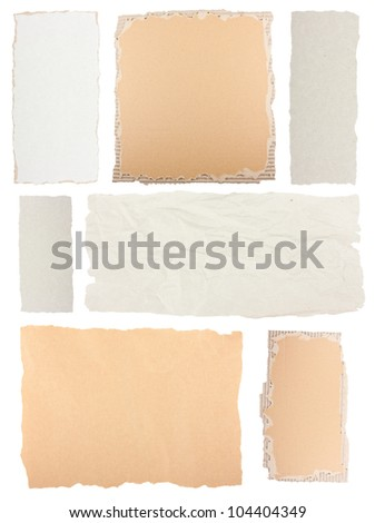 Collection of grunge paper pieces isolated on white background - stock photo