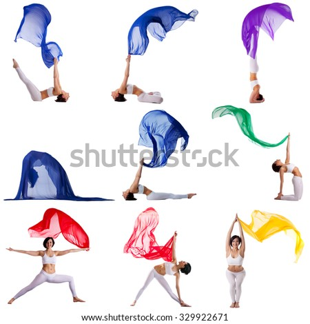 Collection of gymnast exercising with flying cloth