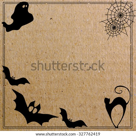 Collection of  halloween icons on paper background - stock photo