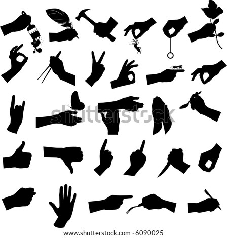 Collection of hand and tool, vector illustration. - stock photo
